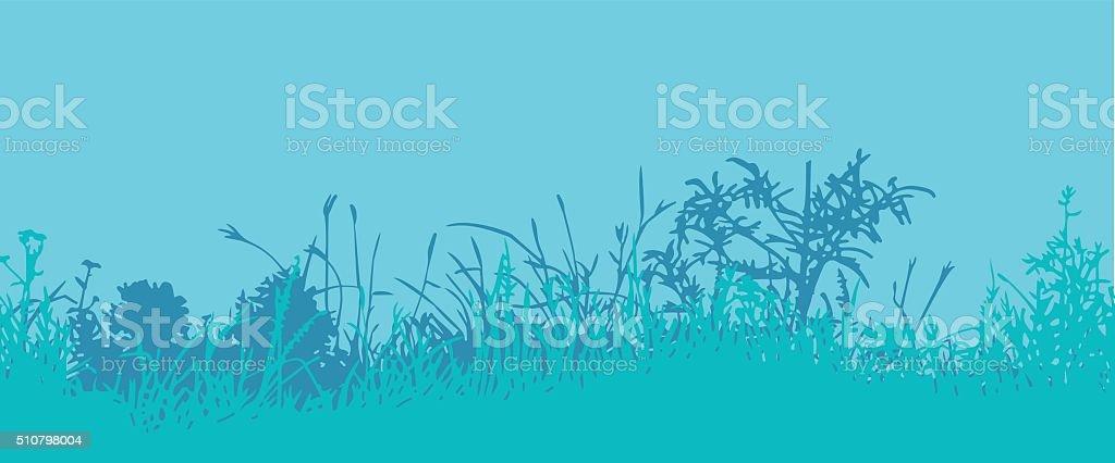Grass. Horizontal seamless pattern vector art illustration