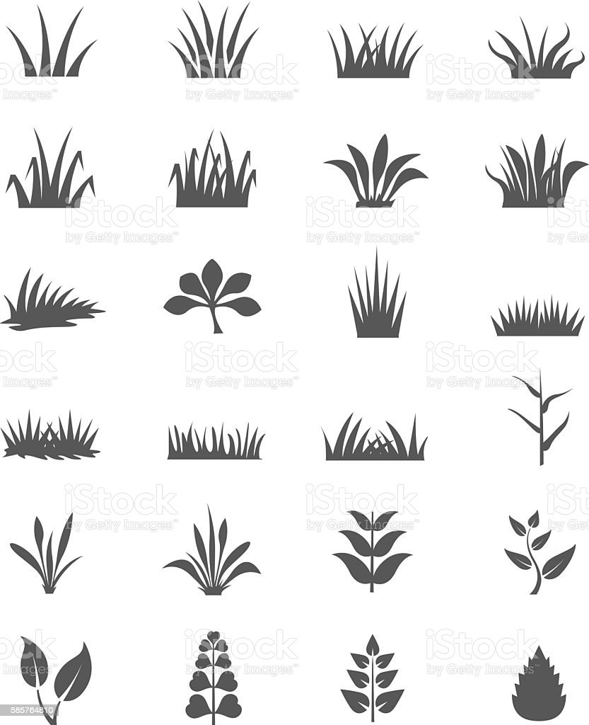 Grass icon set vector art illustration