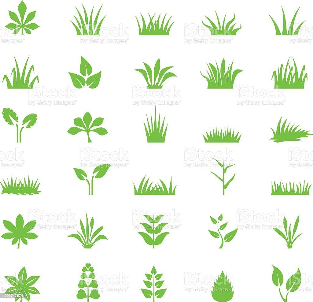 Grass icon set vector art illustration