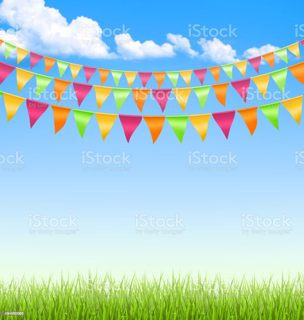 Grass lawn with bright buntings clouds on blue sky vector art illustration