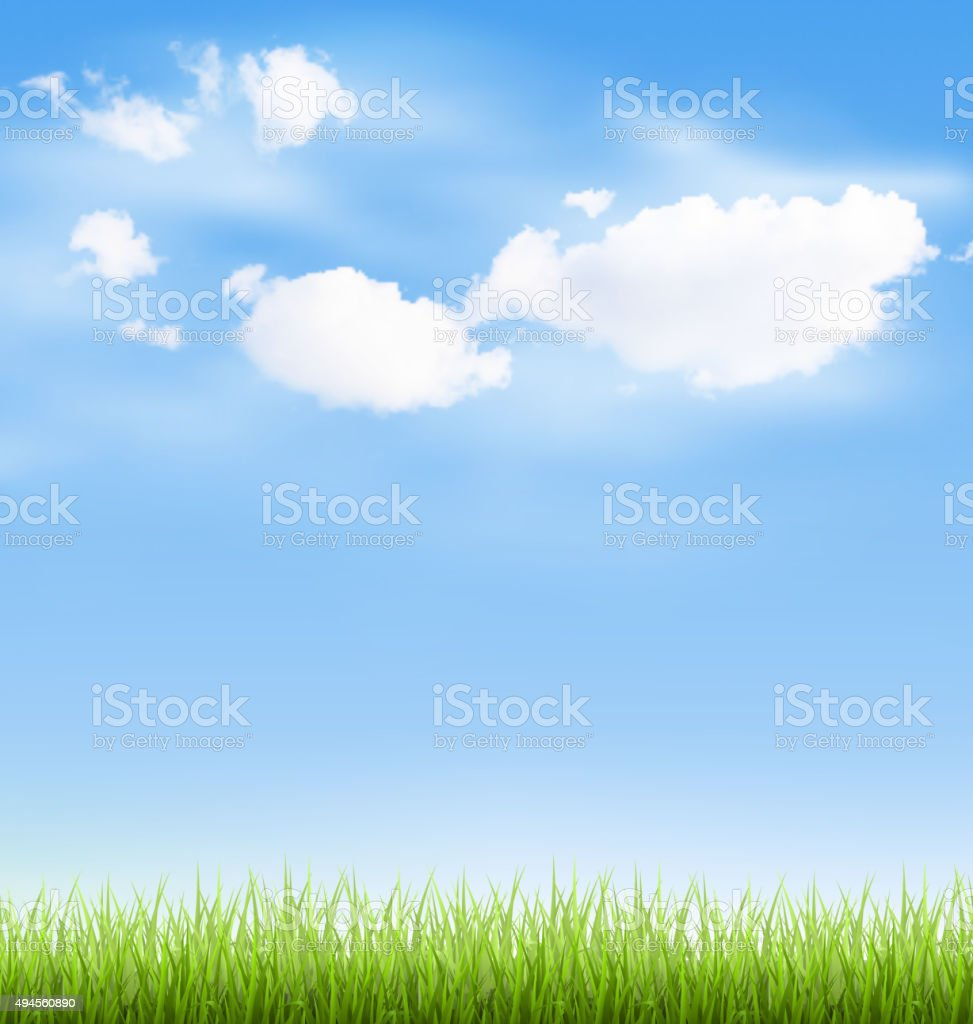 Grass lawn with clouds on blue sky vector art illustration