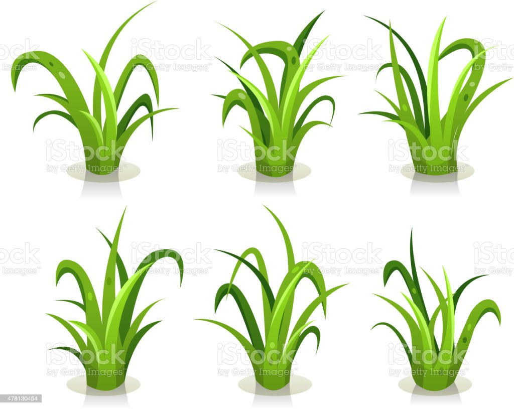 Grass Leaves Set vector art illustration