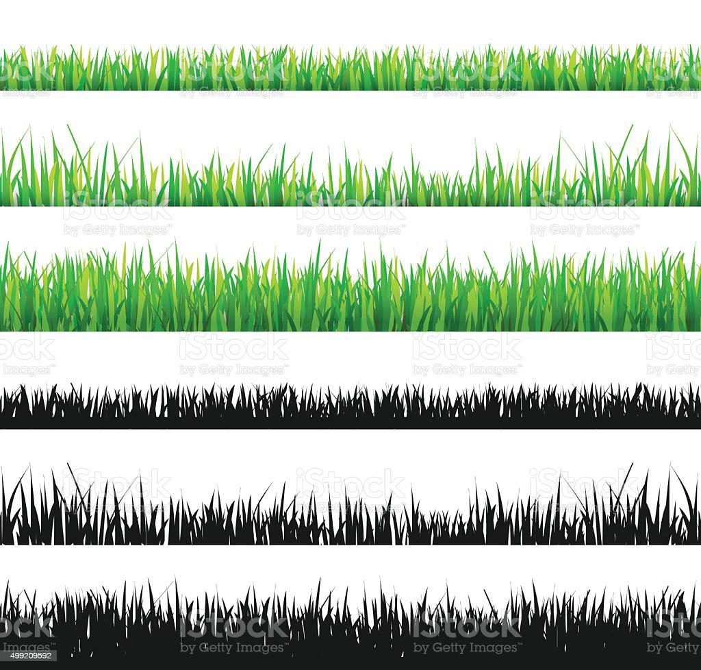 Grass set vector art illustration
