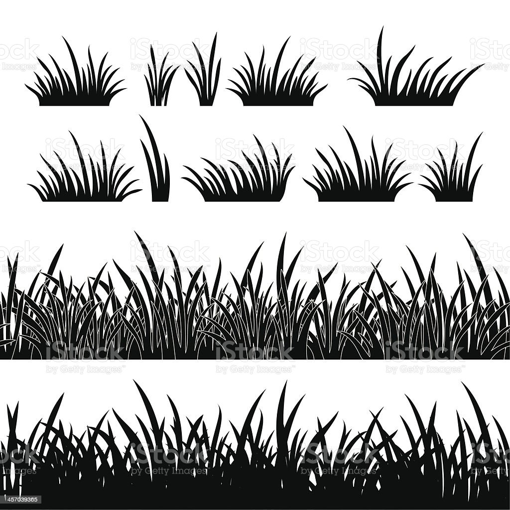 Grass silhouette, seamless vector art illustration
