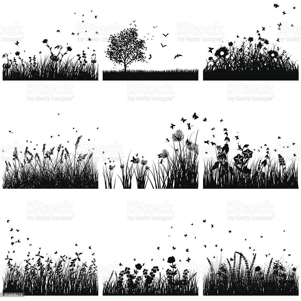 Grass silhouette set vector art illustration