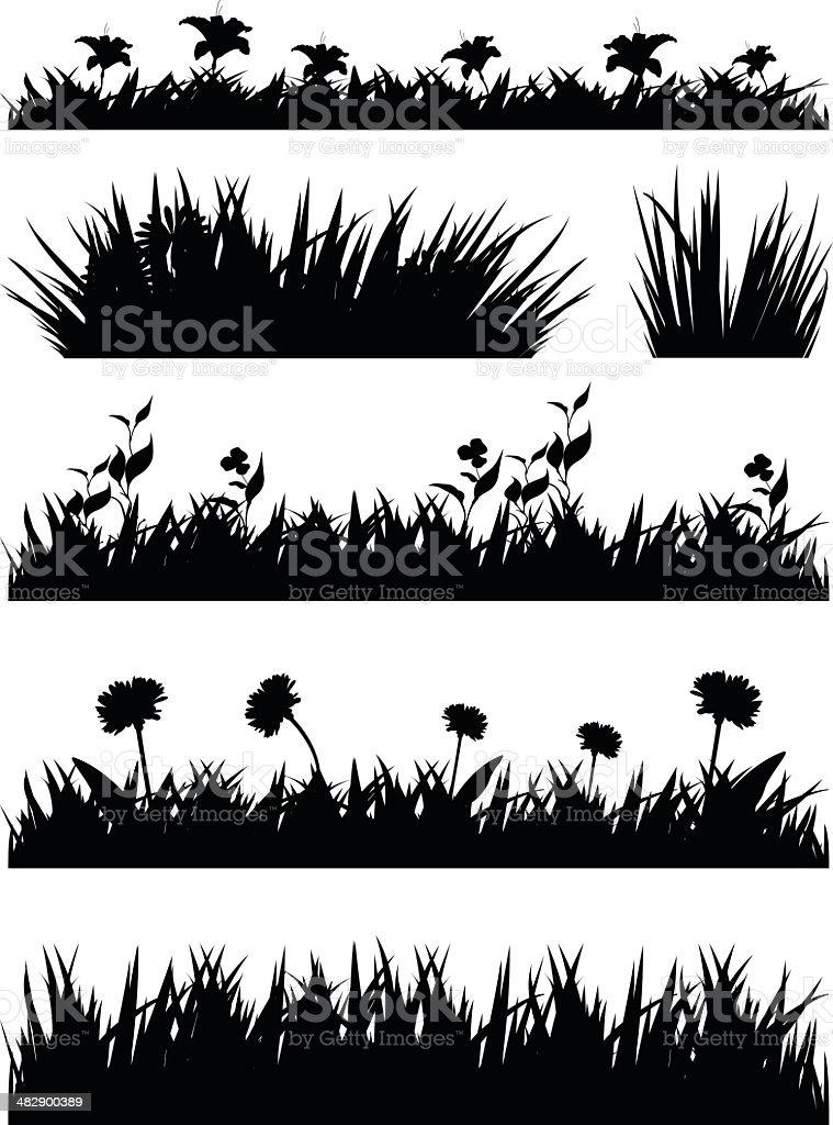 grass silhouette vector art illustration
