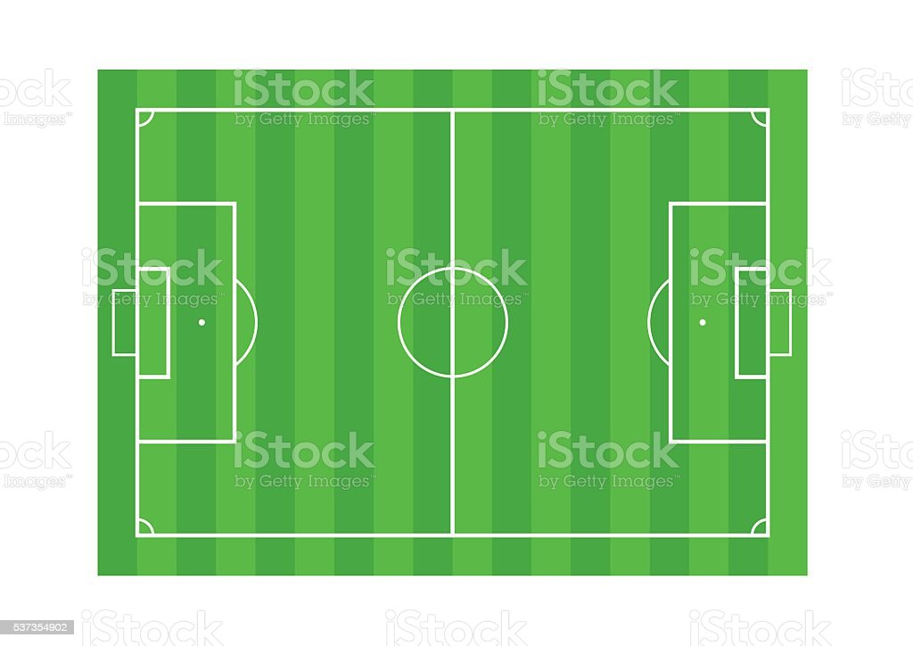 Grass Soccer or Football field isolated on white background vector art illustration