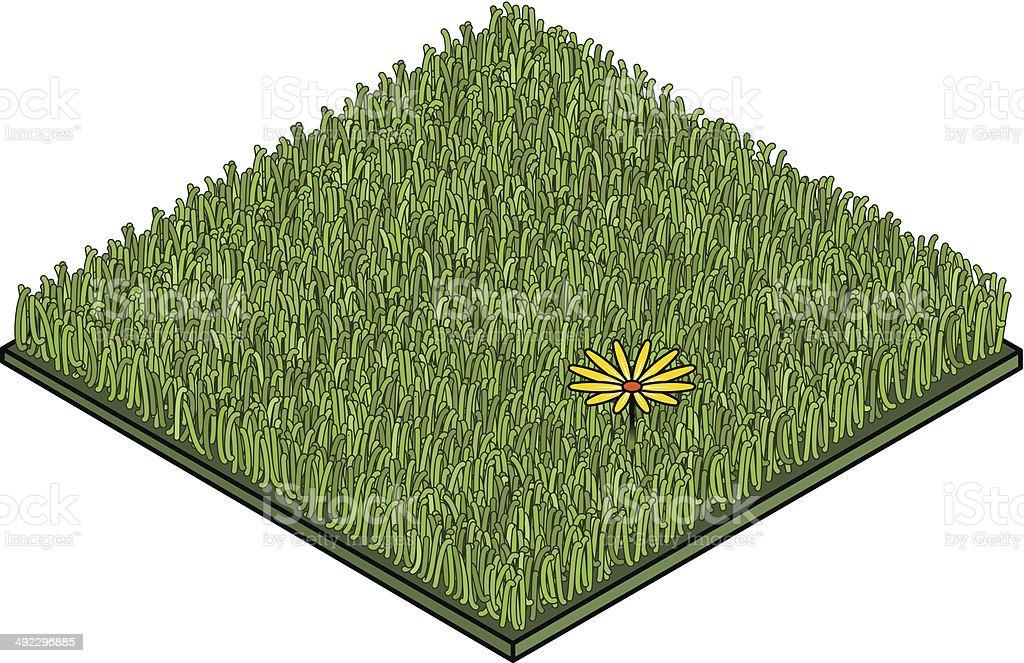 Grass Tile with Flower vector art illustration