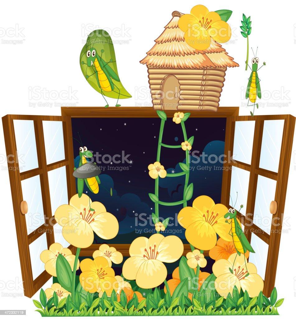 Grasshopper, bird house and window royalty-free stock vector art