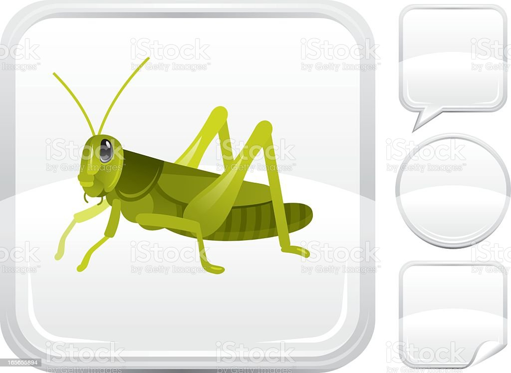 Grasshopper icon on silver button vector art illustration