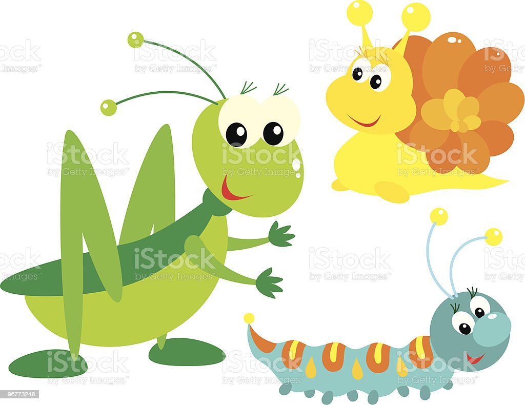 Grasshopper, snail and caterpillar vector art illustration