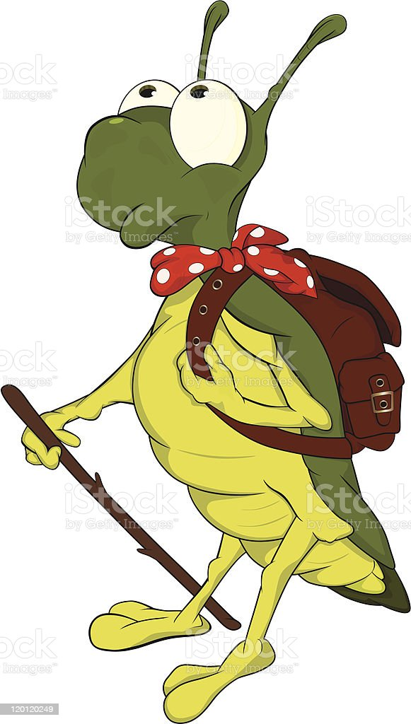 Grasshopper the tourist. ?artoon. royalty-free stock vector art