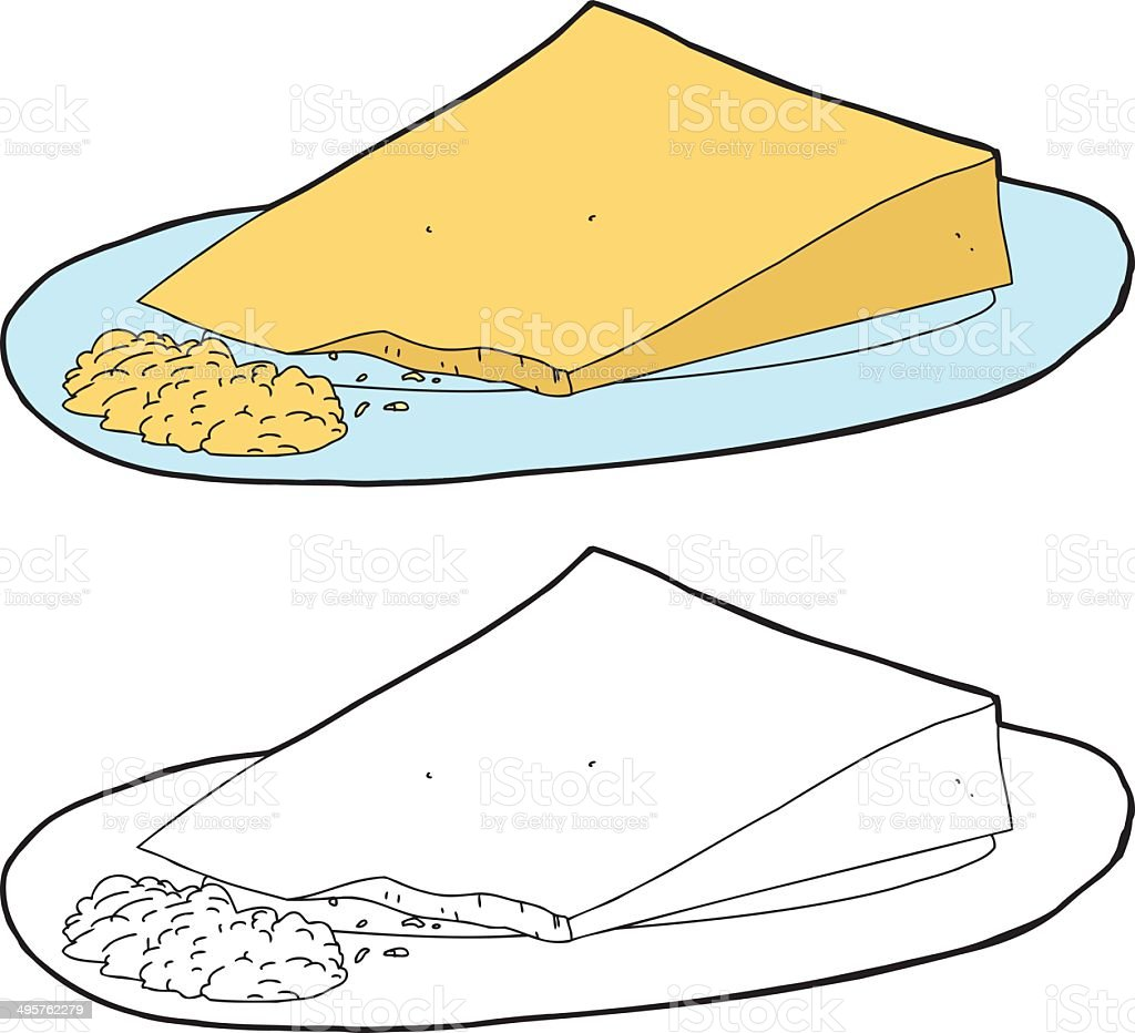 Grated Cheese and Wedge vector art illustration