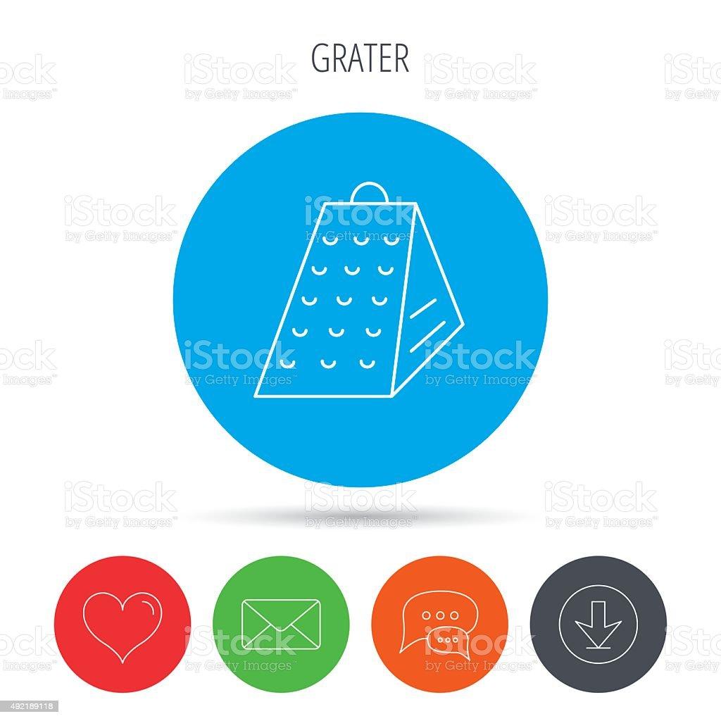 Grater icon. Kitchen tool sign. vector art illustration