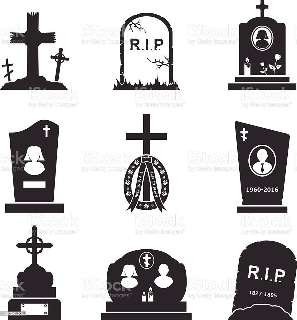Grave Icons vector art illustration