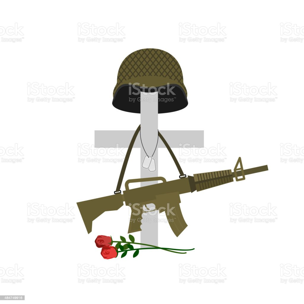 Grave of  fallen soldier. Death of military. Cross and helm vector art illustration