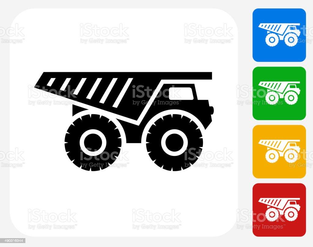 Gravel Truck Icon Flat Graphic Design vector art illustration