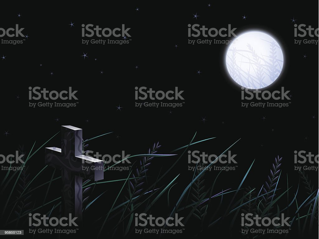 Gravestone in the wild crops field under full moon royalty-free stock vector art