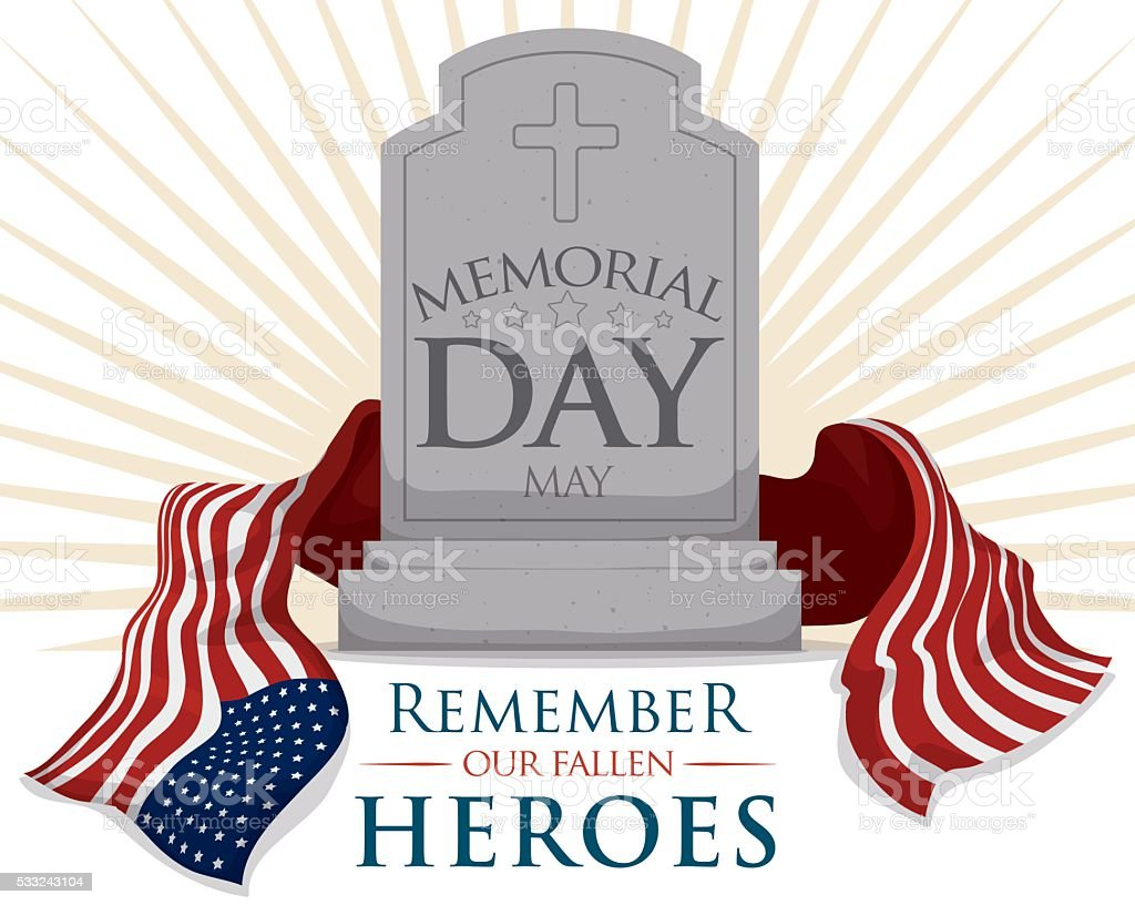Gravestone with USA Flag for Memorial Day vector art illustration