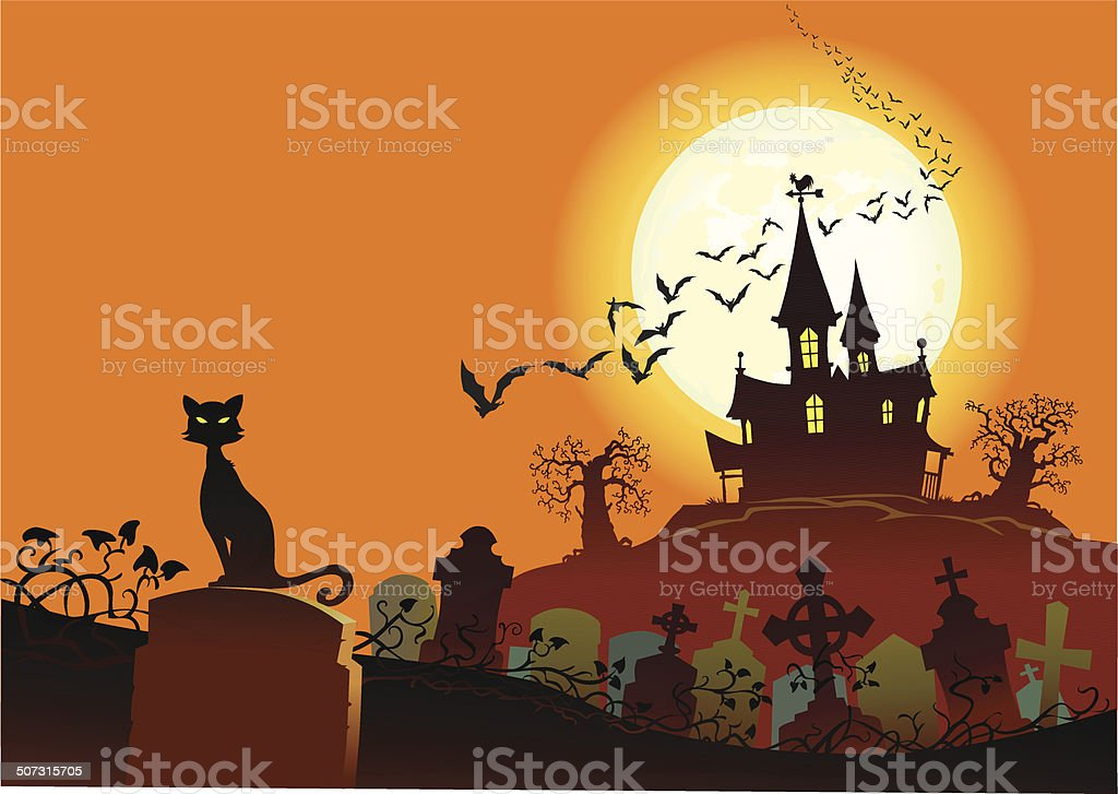 Graveyard and Haunted House in Moonlight royalty-free stock vector art
