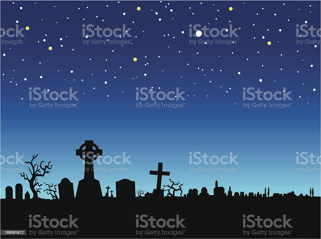 graveyard at night vector art illustration