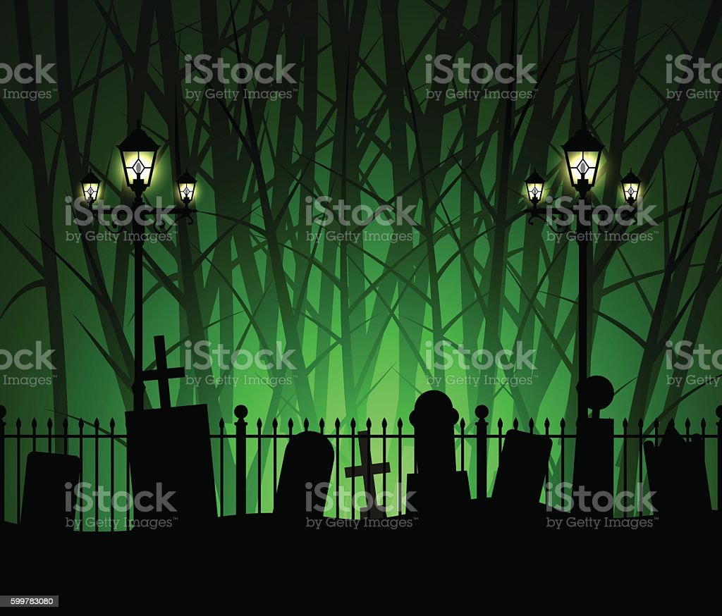 Graveyard cemetery tomb in forest and street lamp vector art illustration
