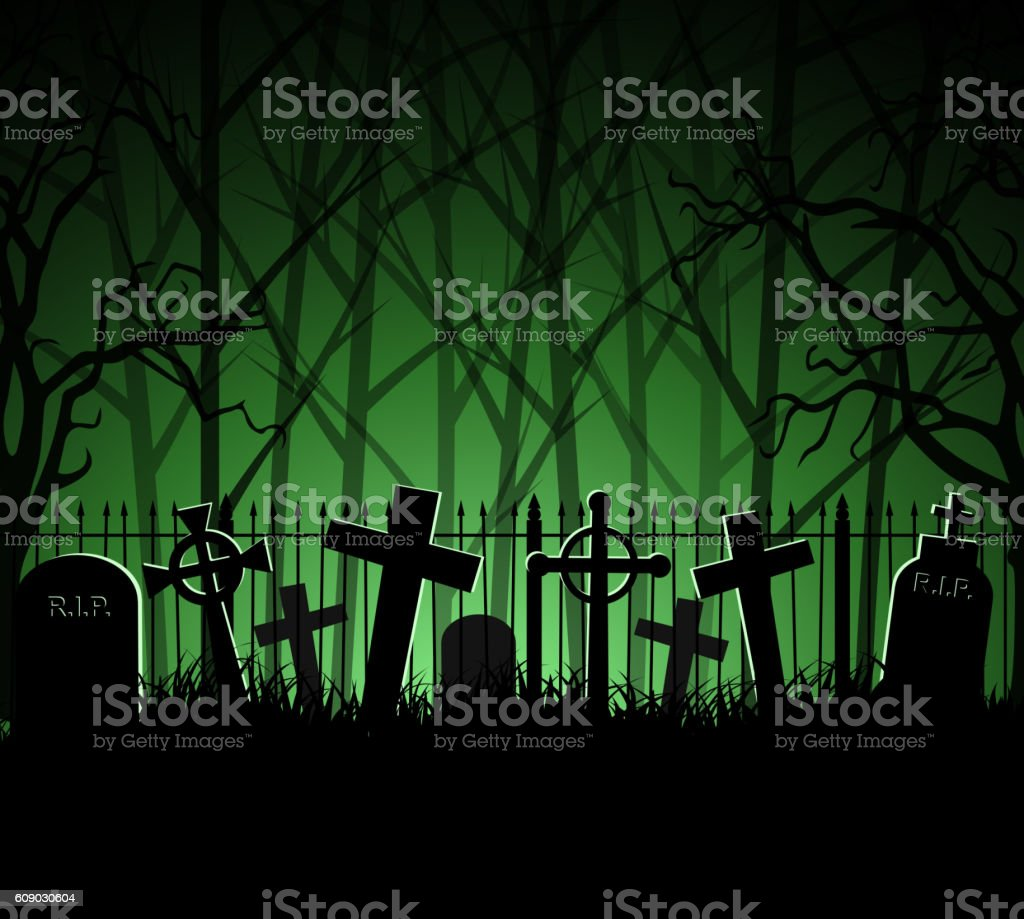Graveyard cemetery tomb in forest vector art illustration