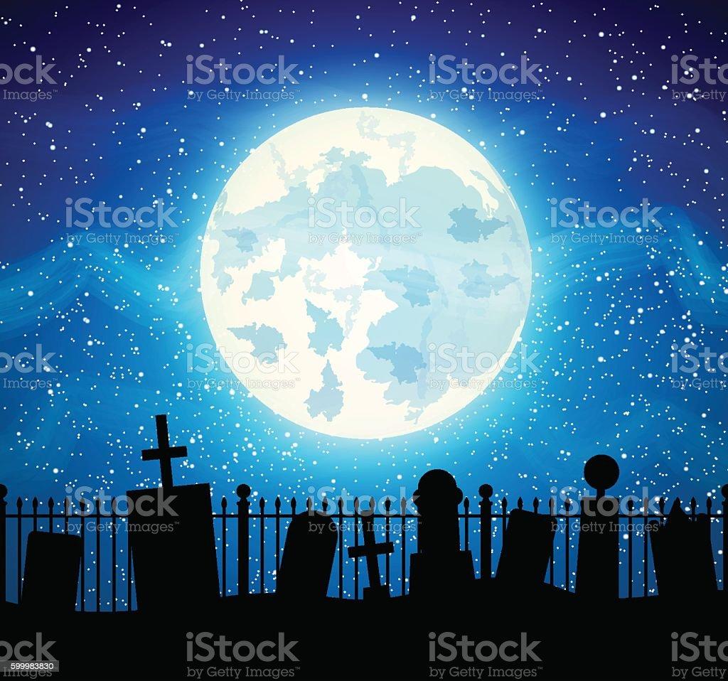 Graveyard cemetery tomb with fool moon vector art illustration