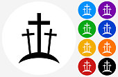 Graveyard Icon on Flat Color Circle Buttons