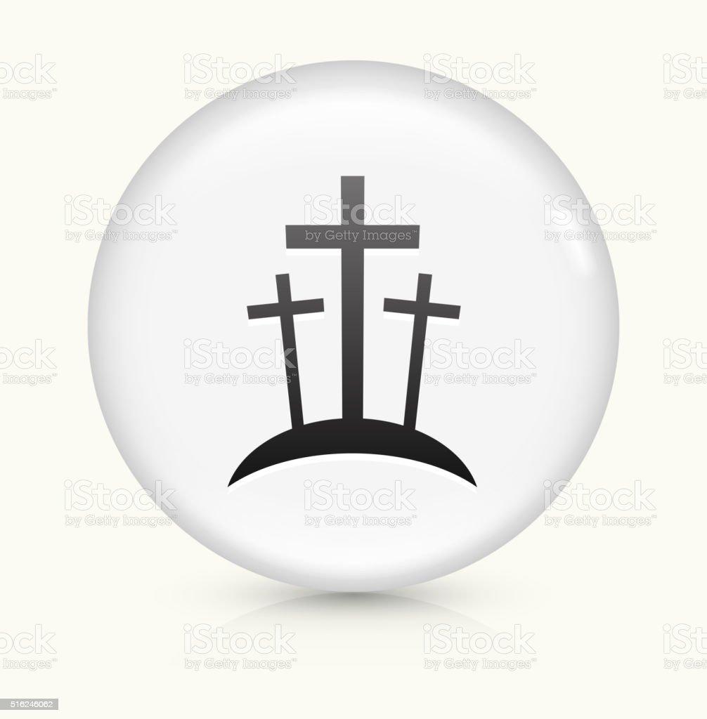 Graveyard icon on white round vector button vector art illustration