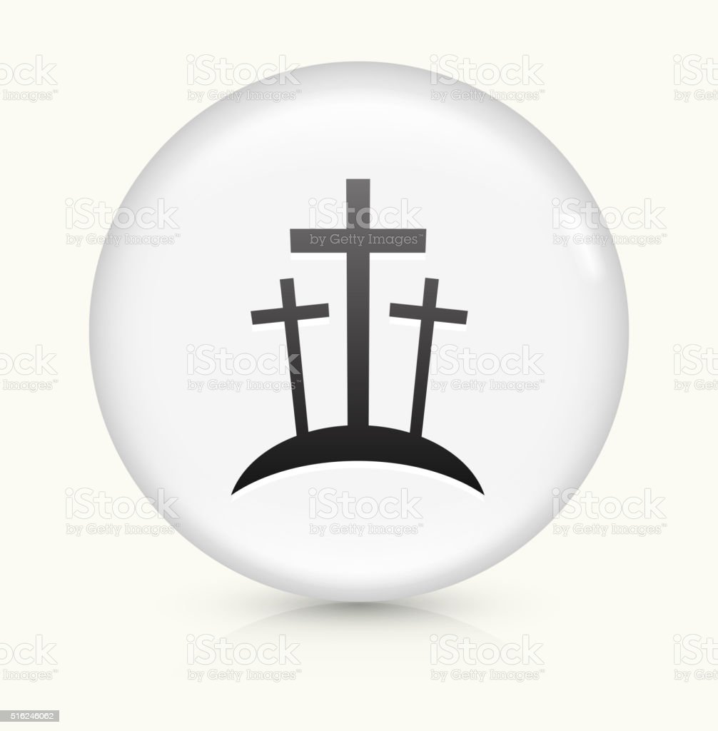 Graveyard icon on white round vector button vector art illustration