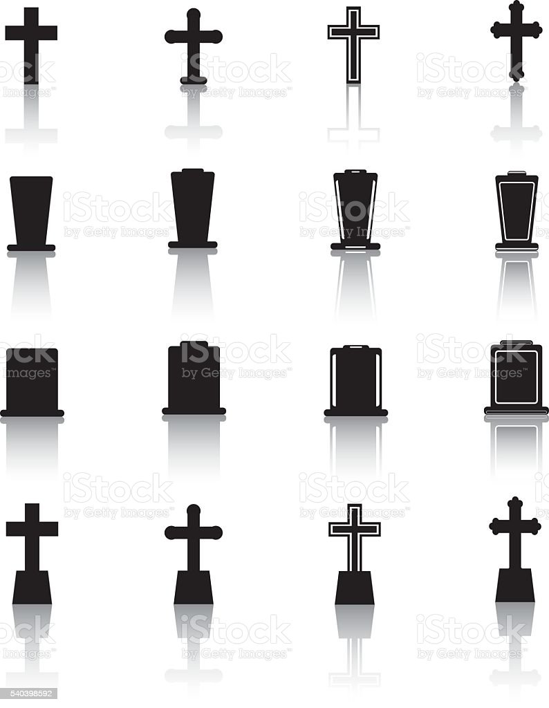 Graveyard Icons vector art illustration