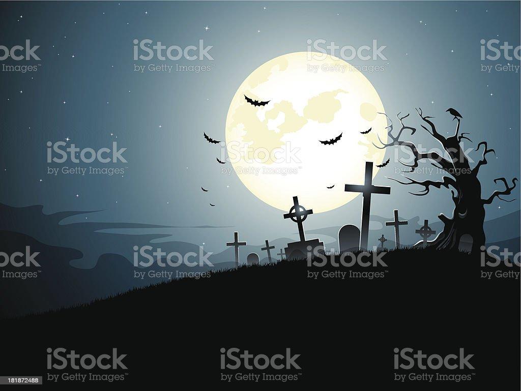 Graveyard vector art illustration