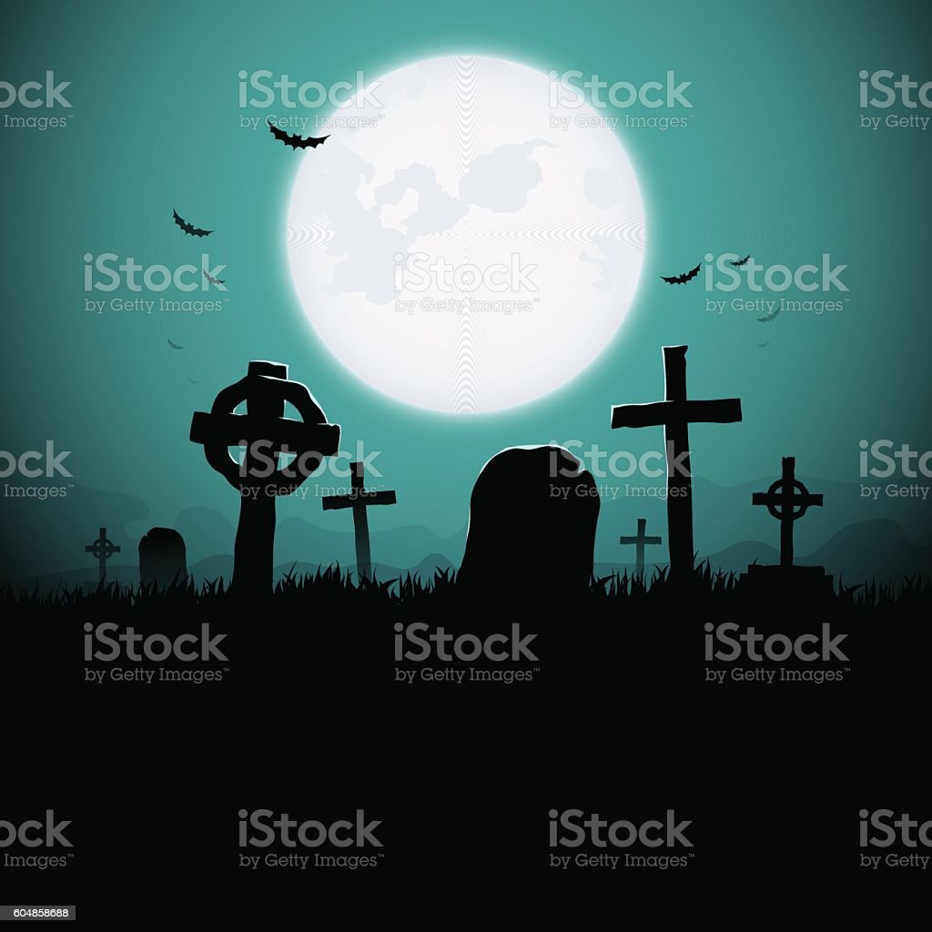 Graveyard vector art illustration