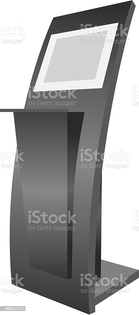 Gray and black graphic image of an electronic kiosk vector art illustration