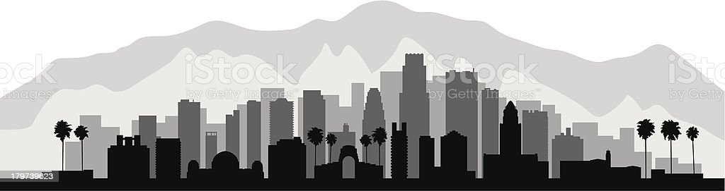 Gray and black layered city silhouette vector art illustration