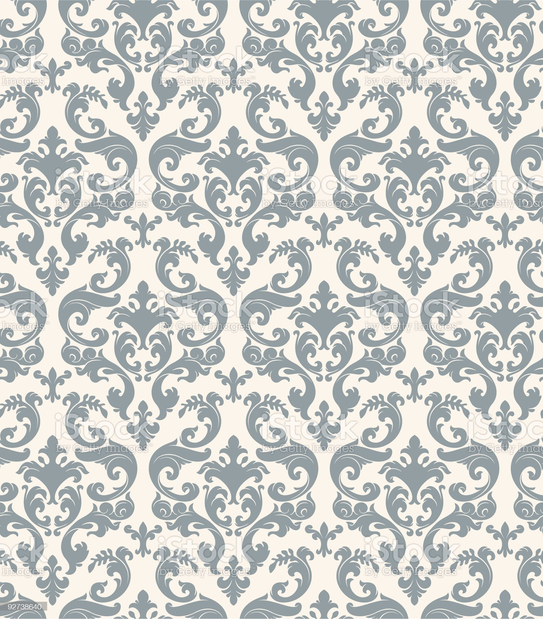 Gray and cream floral wallpaper royalty-free stock vector art