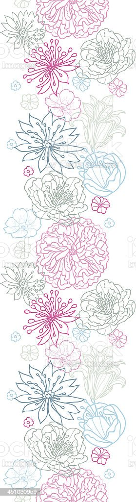 Gray and pink lineart florals vertical seamless pattern background royalty-free stock vector art