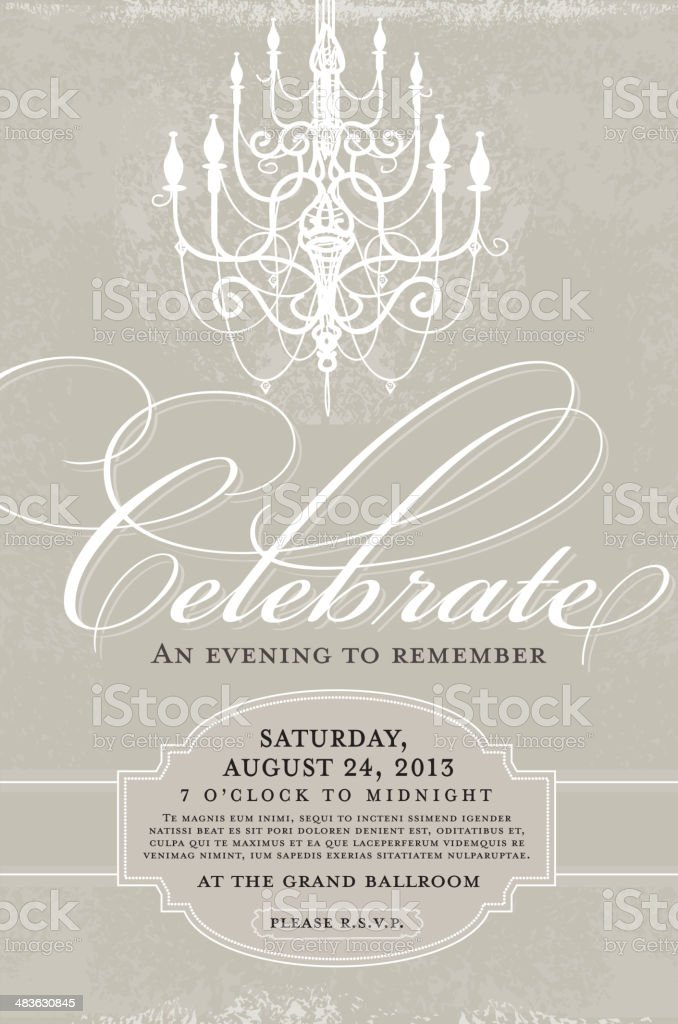 Gray and white Elegant invitation design template with chandelier royalty-free stock vector art