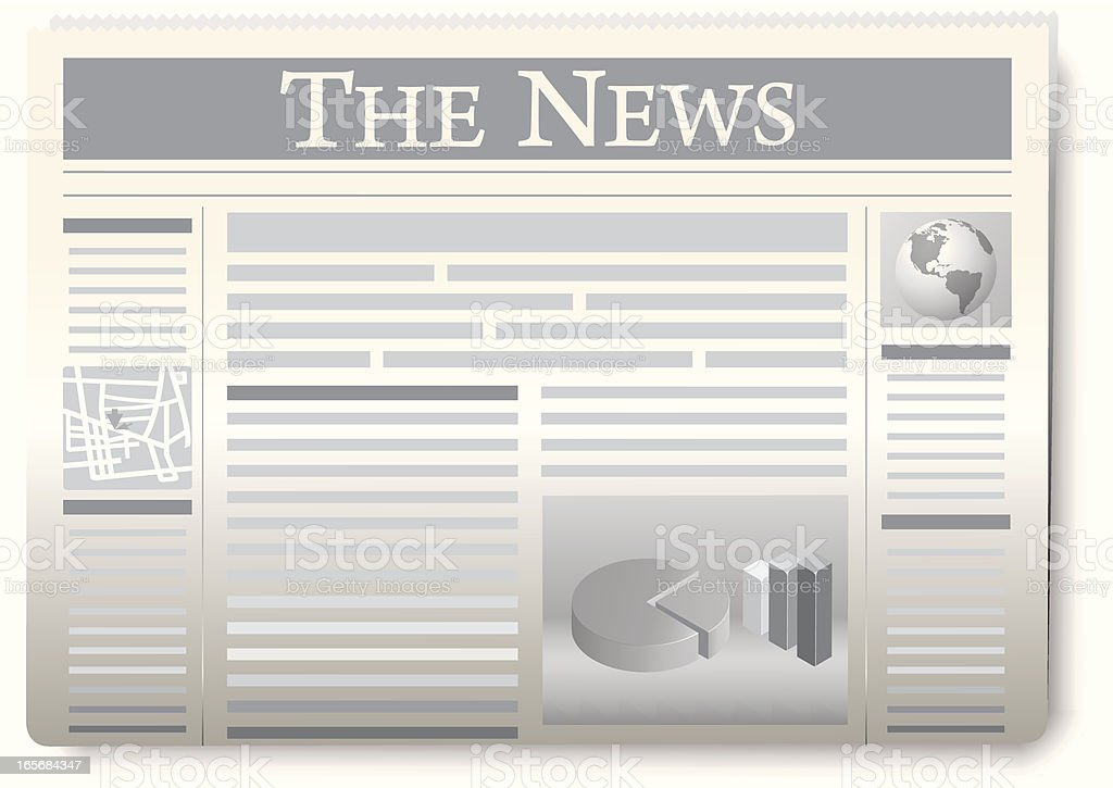 Gray and white graphic of The News paper vector art illustration