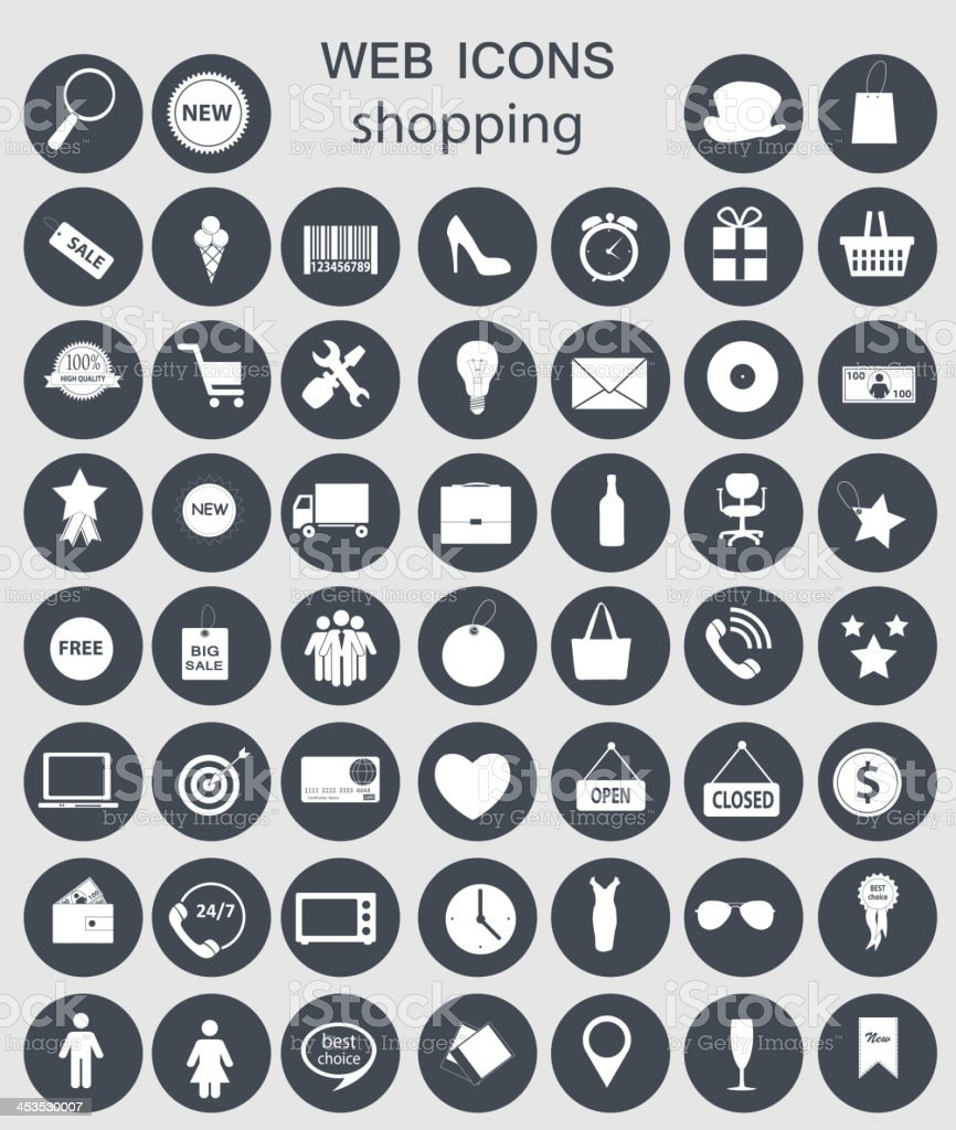 Gray and white shopping computer icons vector art illustration