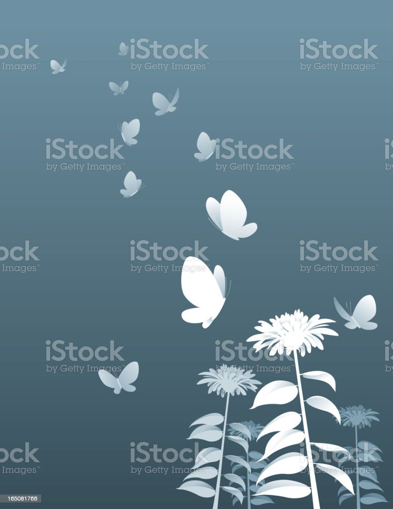 Gray and white vector of butterflies and flowers vector art illustration