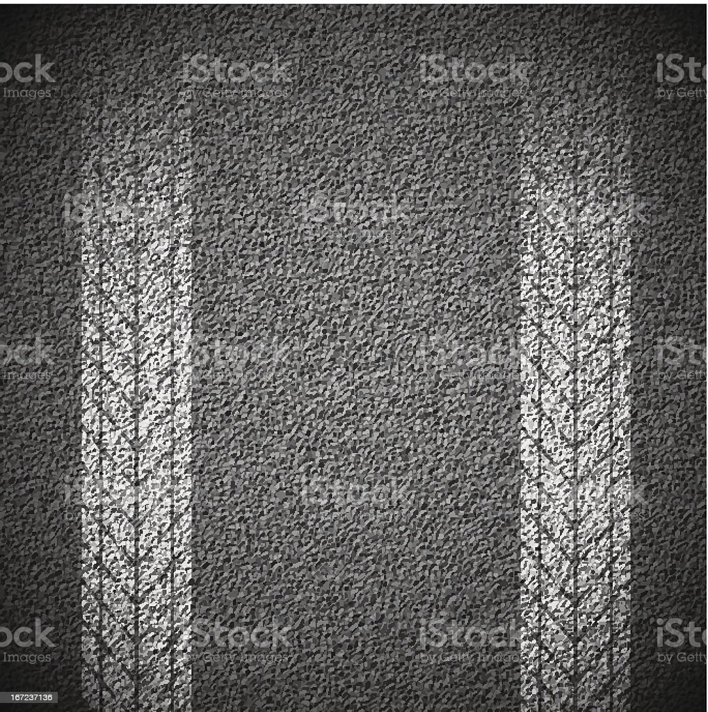 Gray asphalt texture with white tire tread marks vector art illustration