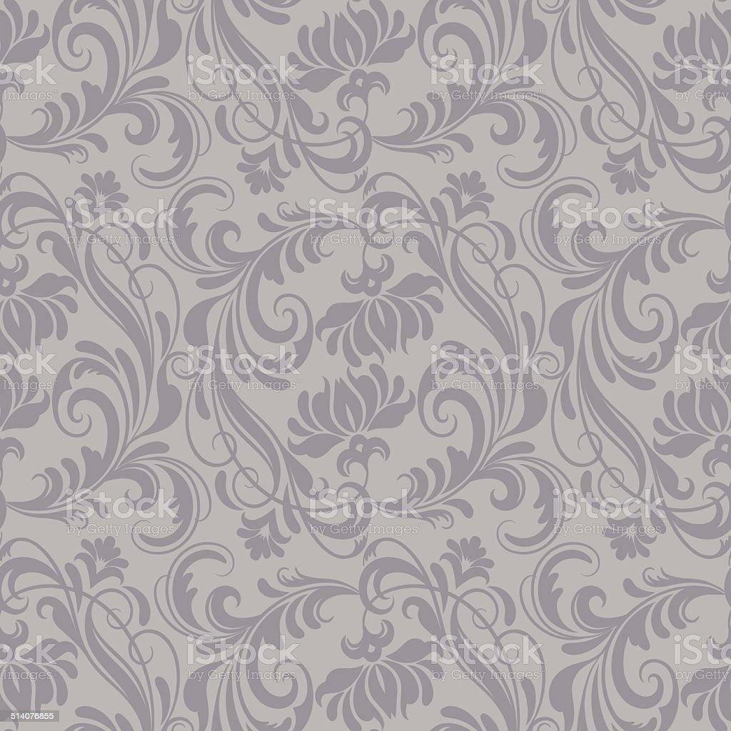 Gray baroque pattern vector art illustration