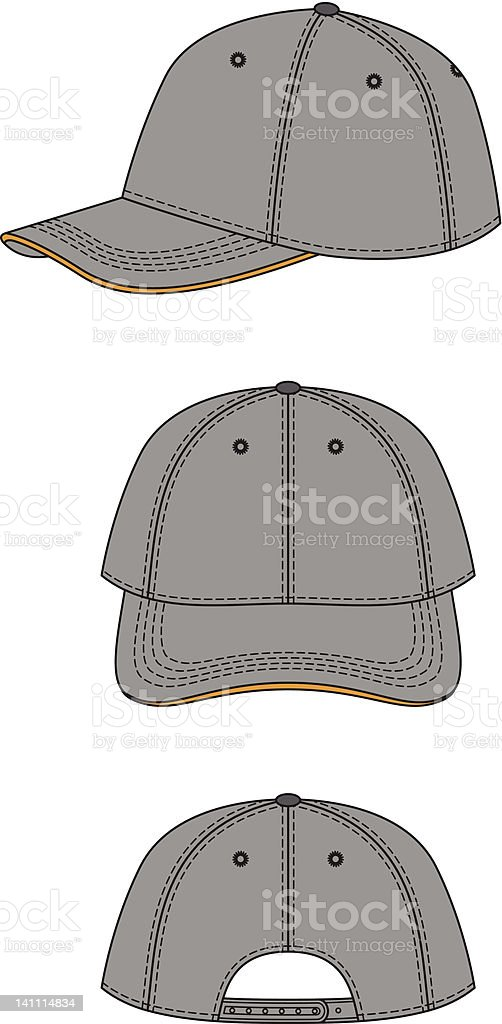 Gray baseball cap graphic side and front views vector art illustration