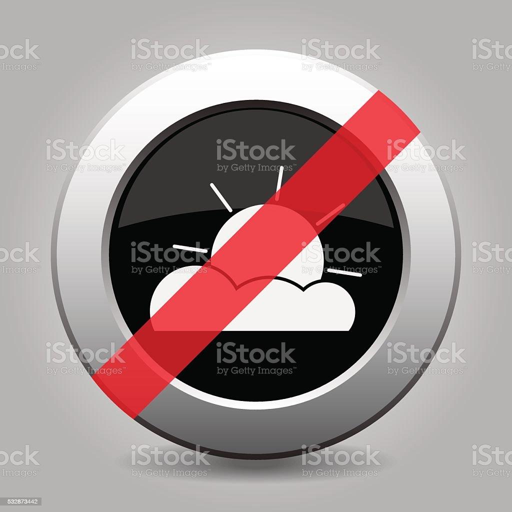 gray chrome button - no partly cloudy vector art illustration
