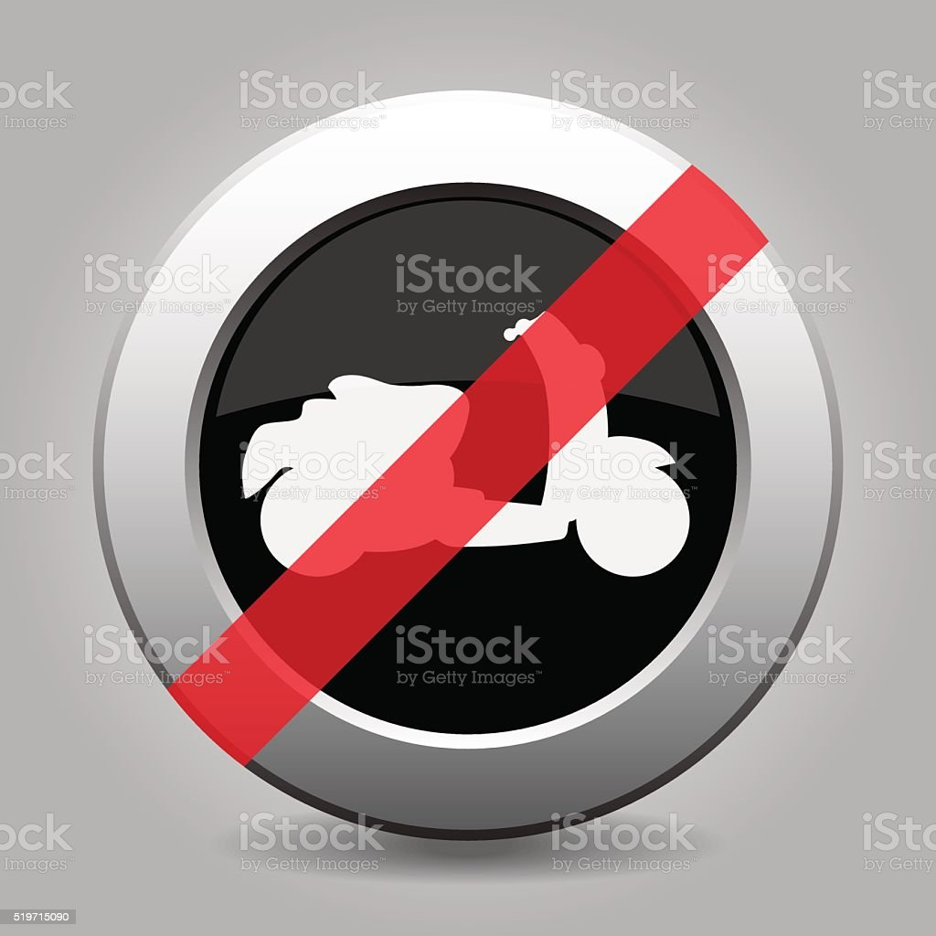 gray chrome button - no scooter vector art illustration