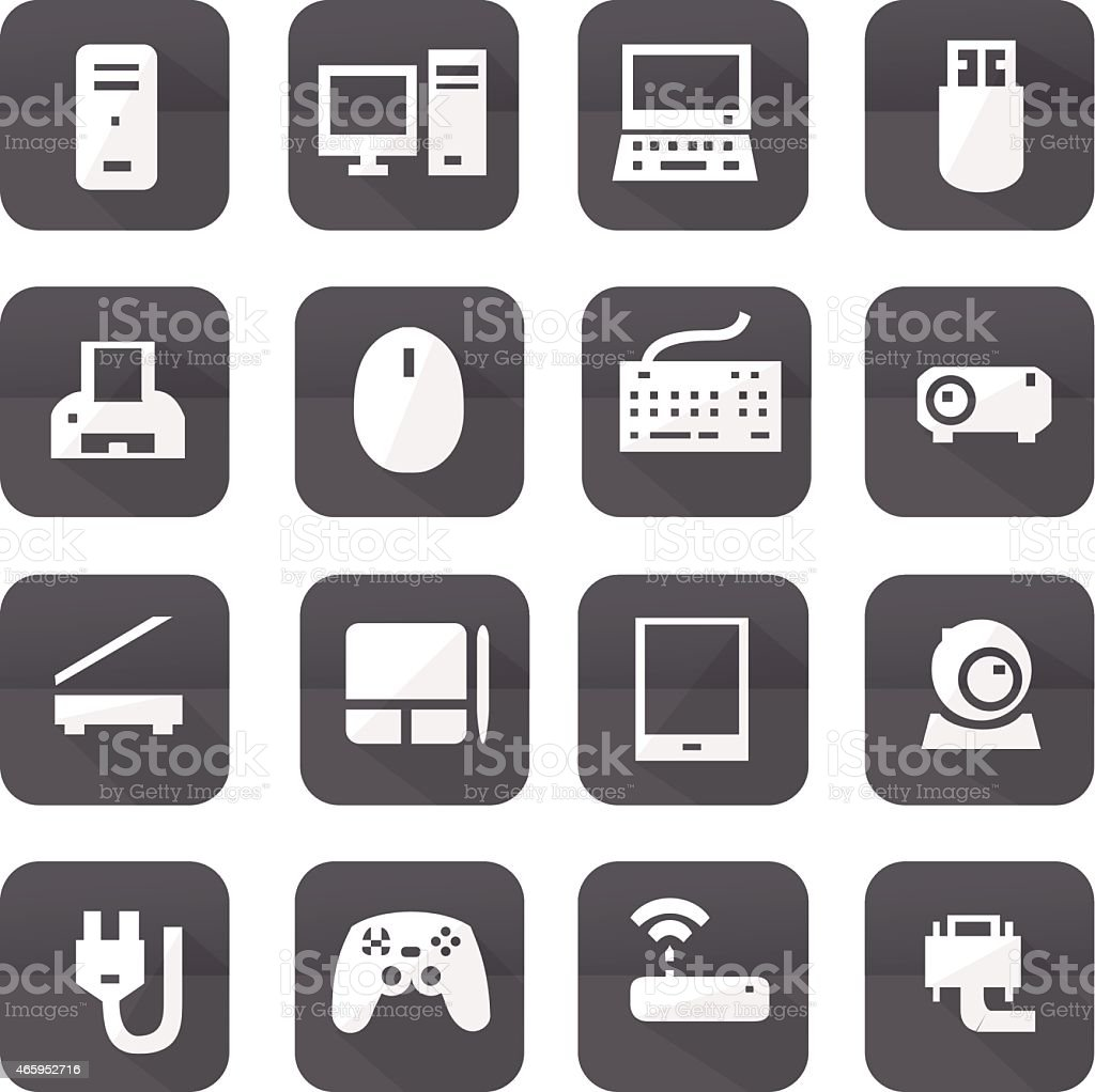 Gray computers device icons vector art illustration