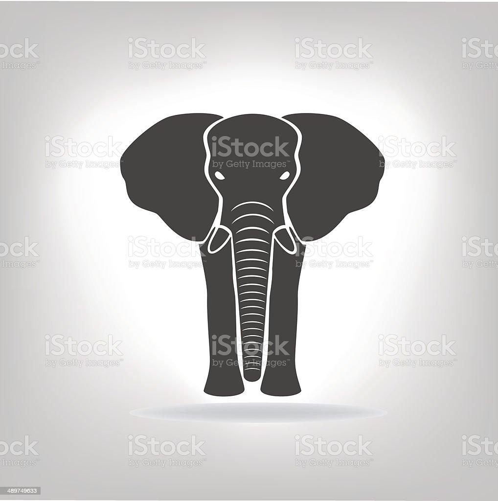 gray emblem of an elephant vector art illustration