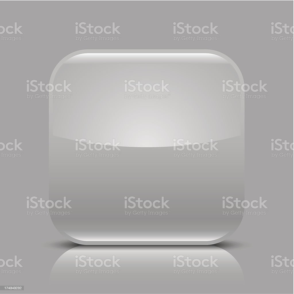 Gray empty glossy icon blank rounded square web button royalty-free stock vector art